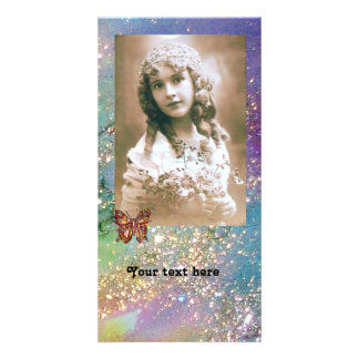 BUTTERFLY IN SPARKLES bright red ,pink green blue Customised Photo Card