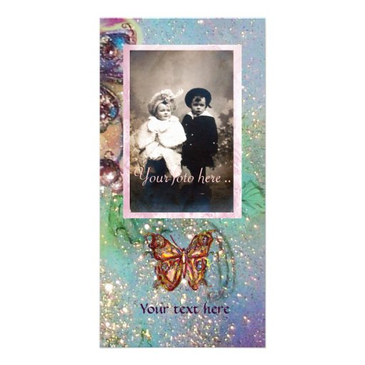 BUTTERFLY IN SPARKLES PERSONALIZED PHOTO CARD