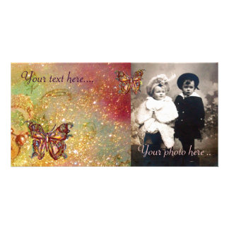 BUTTERFLY IN SPARKLES,yellow,red brown Custom Photo Card