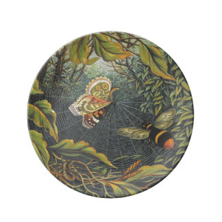 Butterfly in spider web porcelain plate