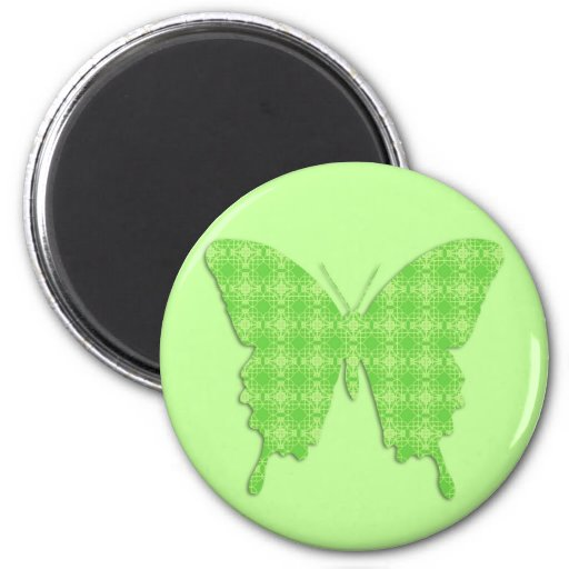 Butterfly in wallpaper print - lime green refrigerator magnet