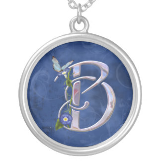 Butterfly Initial B Personalized Necklace