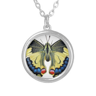 Butterfly Insect Wing Lepidoptera Nature Bright Silver Plated Necklace