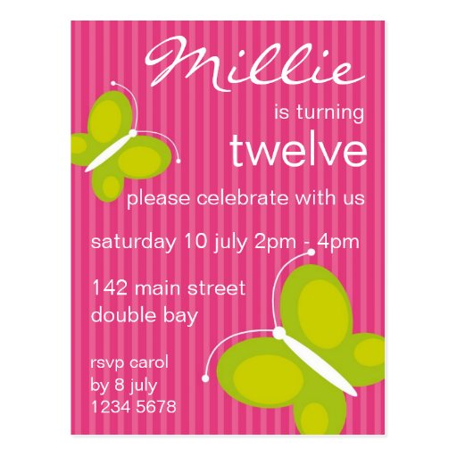 Butterfly Invitation [lime + pink] Postcard