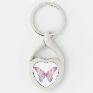 Butterfly key chain. Silver-Colored twisted heart key ring