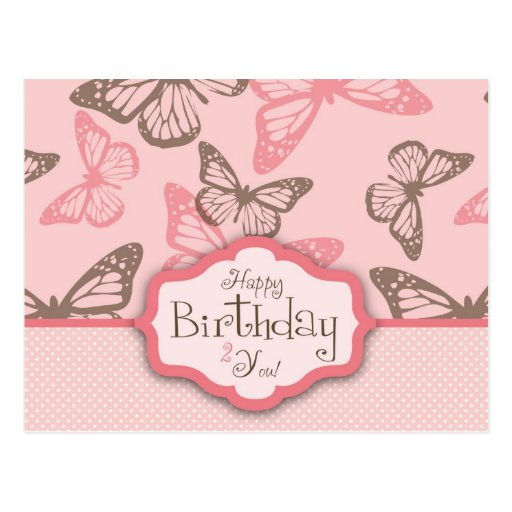 Butterfly Kisses Birthday Postcard II