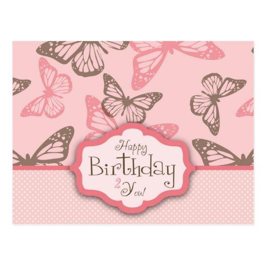 Butterfly Kisses Birthday Postcard II