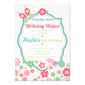 Butterfly Kisses & Birthday Wishes Invitation