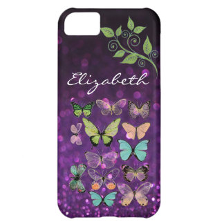 Butterfly Kisses on Purple Glitter iPhone 5 Cases