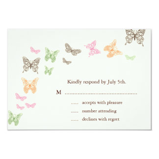 Butterfly Kisses RSVP ivory Card