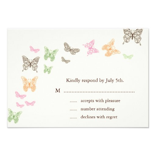 Butterfly Kisses RSVP ivory Invite
