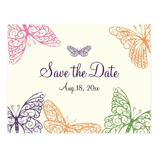Butterfly Kisses Save the Date ivory Postcards