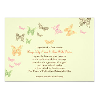 Butterfly Kisses Wedding Invite yellow