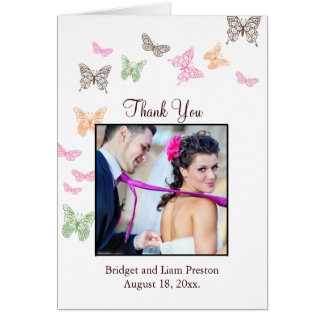 Butterfly Kisses Wedding Thank You Card