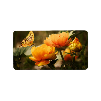 Butterfly Kissing Golden Yellow Flowers Label