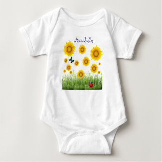 Butterfly, Ladybug Sunflowers, Grass, Enchanting Baby Bodysuit