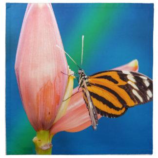 Butterfly Landing on Purple Flower Napkin