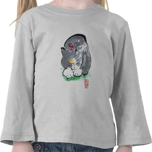 Butterfly Lands on Gray Tuxedo Cat, Sumi-e T-shirts