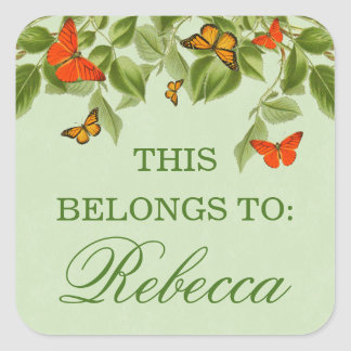 Butterfly & leaves green nature name sticker