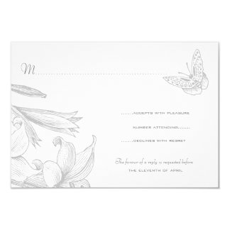 Butterfly Lilies Silver Wedding Anniversary RSVP Card