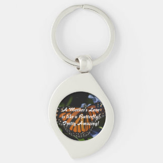 Butterfly Love Silver-Colored Swirl Key Ring