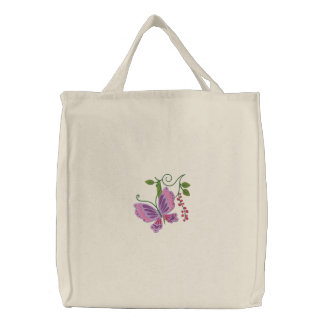 Butterfly Love Tote Embroidered Tote Bags