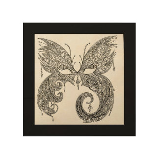 Butterfly Masquerade Mask Wood Print