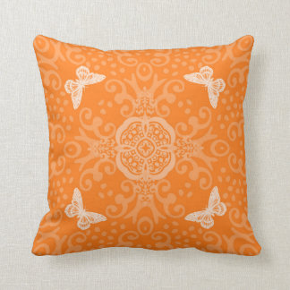 Butterfly Medallion Vintage Look Orange Throw Cushion