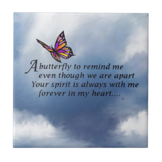 Butterfly Memorial Poem Small Square Tile
