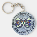 Butterfly Message Basic Round Button Key Ring