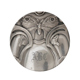 Butterfly Monogram Antique Silver Plate