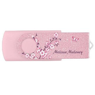 Butterfly Monogram Cherry Blossoms Pink Glitter USB Flash Drive