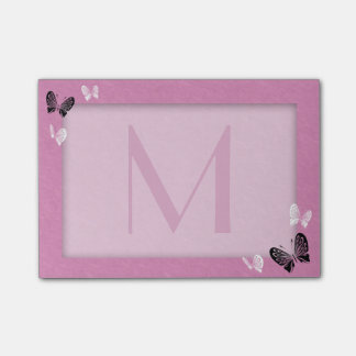 Butterfly Monogram on Pink Post-it Notes