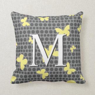 Butterfly Monogram Pattern Pill Grey + Yellow Throw Pillow