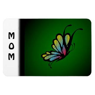Butterfly Mosaic Green Rectangular Photo Magnet