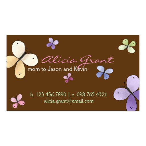 Butterfly Mummy Card Pack Of Standard Business Cards