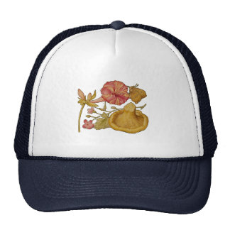 Butterfly, Mushroom and Flower Watercolor Cap