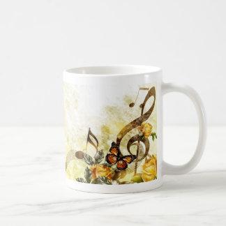 Butterfly Music Notes Basic White Mug