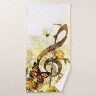 Butterfly Music Notes Bath Towel