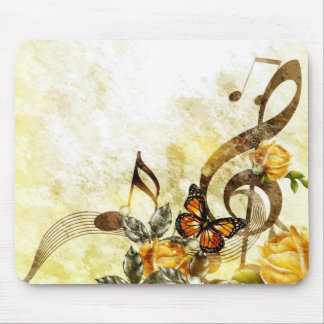 Butterfly Music Notes Mouse Pad