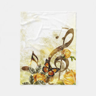 Butterfly Music Notes Small Fleece Blanket