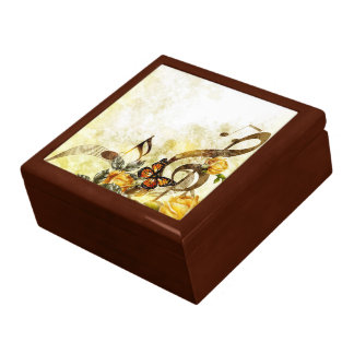 Butterfly Music Notes Trinket Box