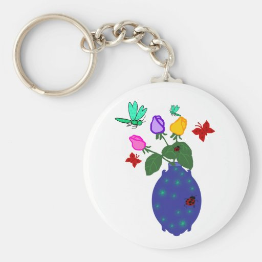 butterfly n dragonfly rose vase key chain