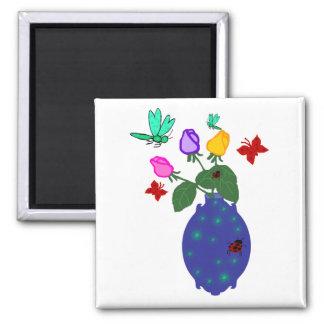 butterfly n dragonfly rose vase magnet
