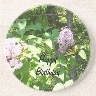 Butterfly on a Lilac Bush- Birthday Coaster