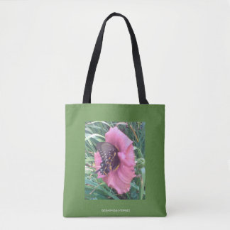 BUTTERFLY ON A PINK DAYLILY ON THIS GARDEN TOTE! TOTE BAG