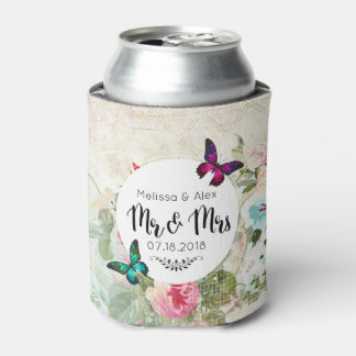 Butterfly on a Shabby Vintage Collage Mr and Mrs Can Cooler