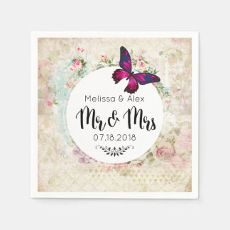 Butterfly on a Shabby Vintage Collage Mr and Mrs Disposable Napkins