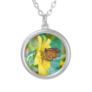 Butterfly on a Sunflower Silver Plated Necklace