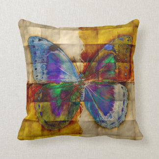 Butterfly on Antique Checkered Pattern Cushion